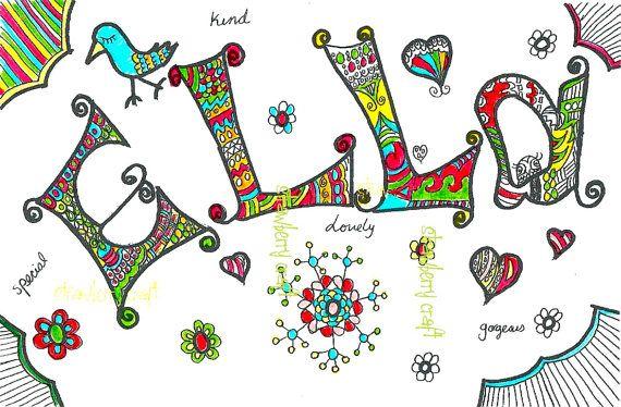 Custom Name Doodle, Custom inspired zentangle, Custom Wall Art ...