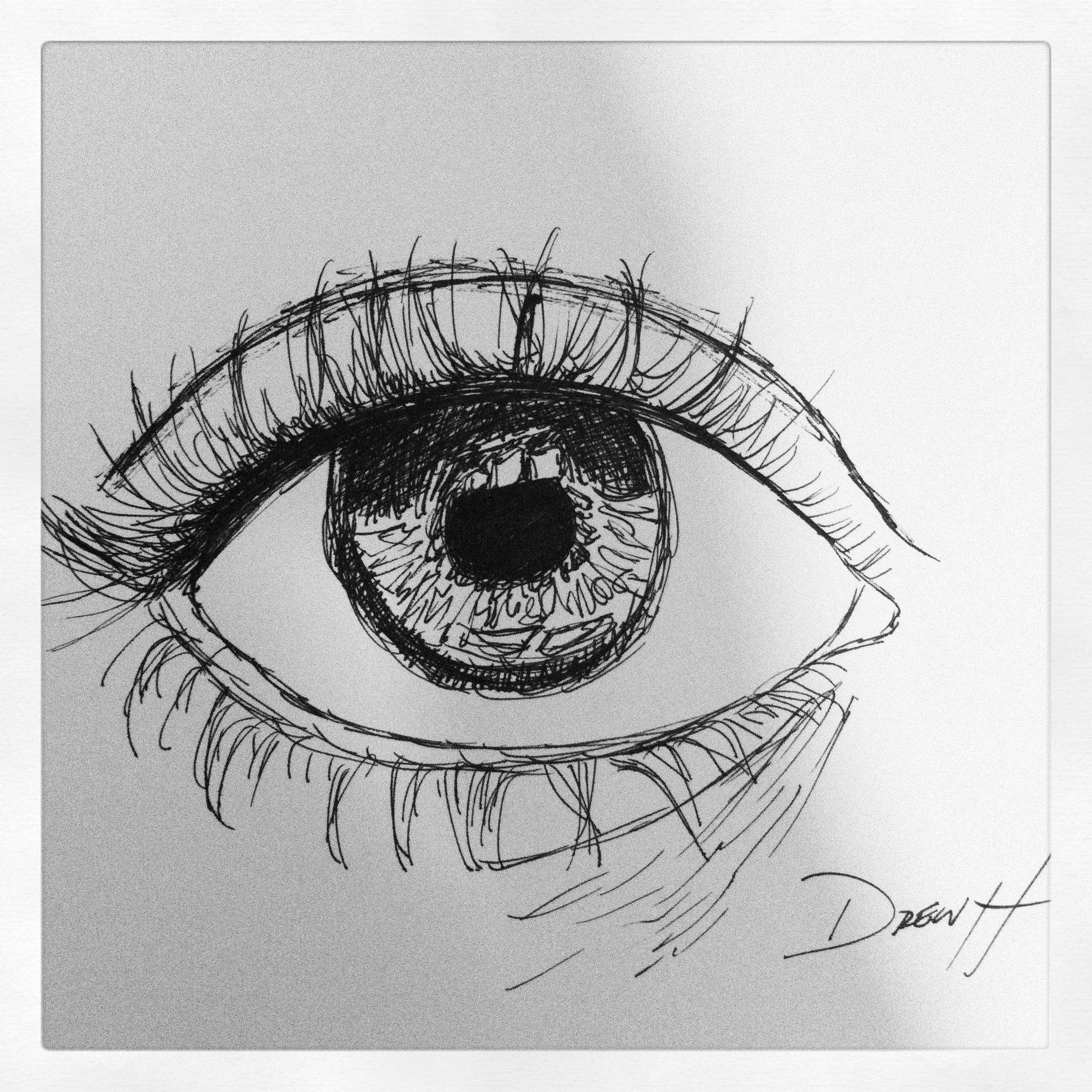 Ink pen sketch eye art pinterest pen sketch for Ink drawings easy