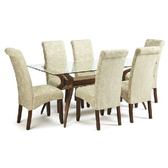 jenson glass dining table with 6 ameera chairs in floral cream rh pinterest co uk