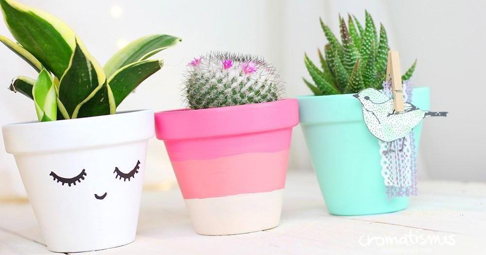 14 ideas para decorar y renovar macetas m a pinterest originales bonitas y plantas - Maceteros originales baratos ...