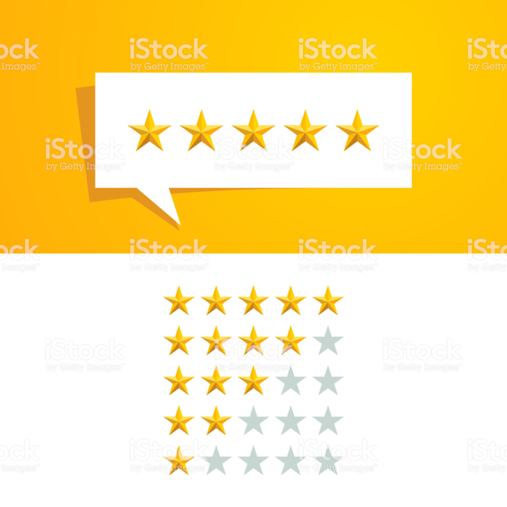 5 Five Star Rating Review Vector Design Template With Gold Color And