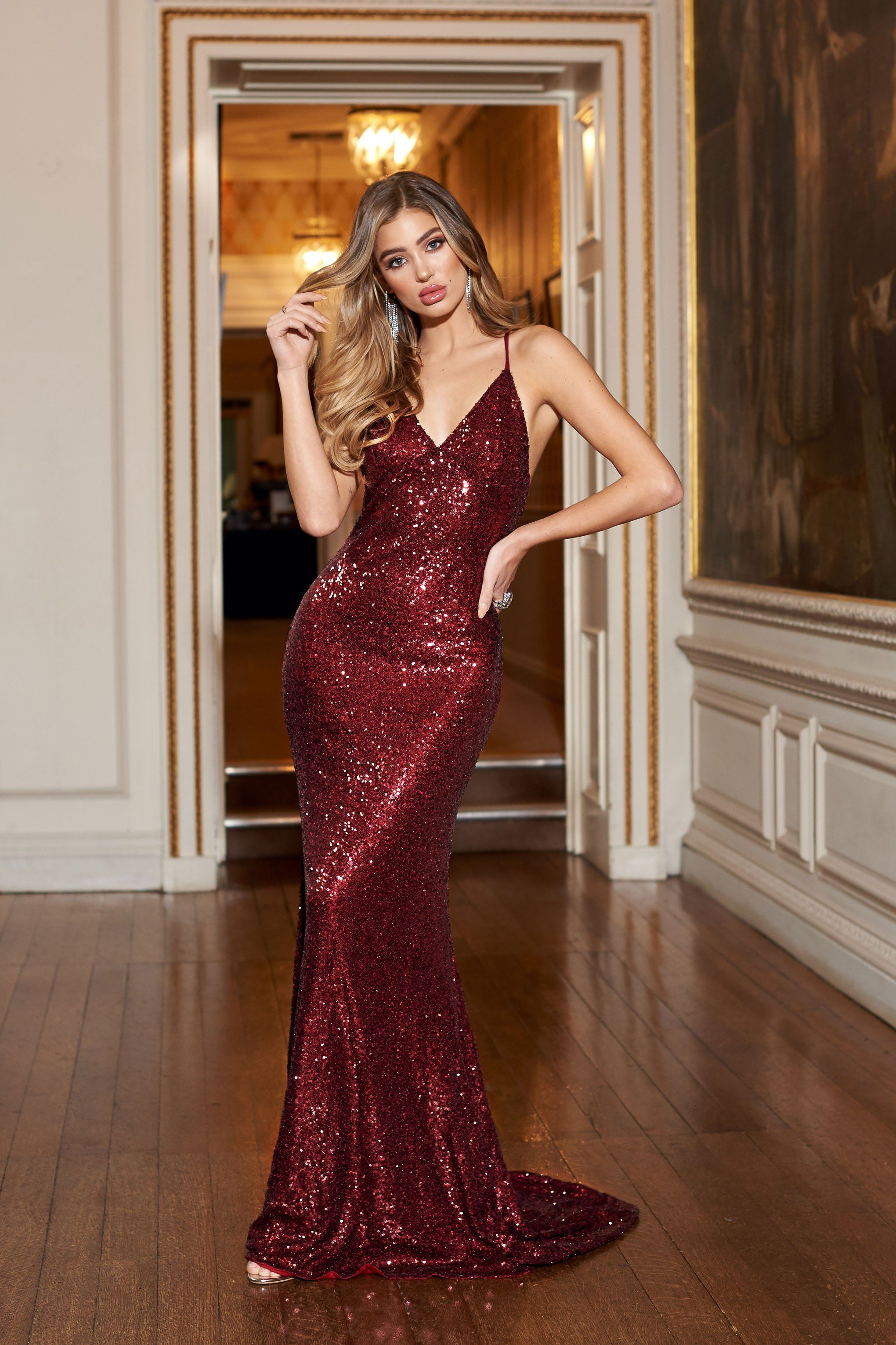 51dbae89937 Berry Sequin Cross Back Fishtail Maxi Dress – Club L London