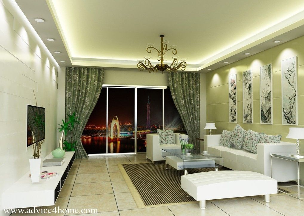 White Gray Pop Ceiling Design And White Sofa Set Design In Living Room