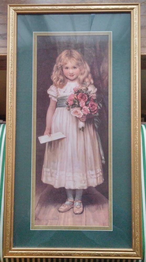 Vintage Home Interiors Gifts Little Girl Love Letters Art Portrait Gold Frame Vintage House Letter Art House Interior