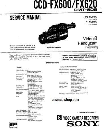 Sony Ccd Fx600 Service Manual Download Ccd Manual Sony