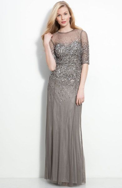 Adrianna Papell Beaded Illusion Bodice Mesh Gown In Gray Lead Lyst Mother Of The Bride Dresses Dresses Mothers Dresses