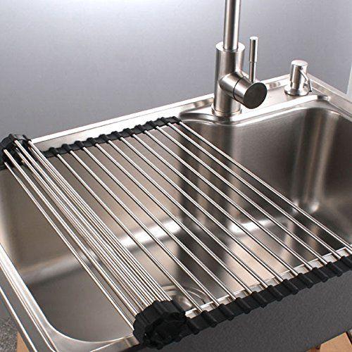 Shangrui Stainless Steel Over The Sink Multipurpose Roll Up Dish Drying Rack Shutter Type Dish Rack Black 20in Width Amazon Co Uk Waschbecken Edelstahl Kuche