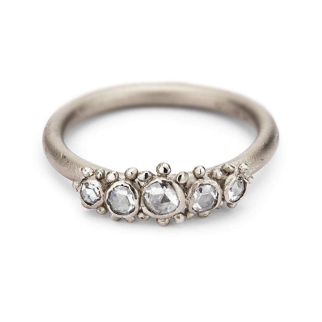 Unique vintage style five stone rose cut diamond engagement ring in