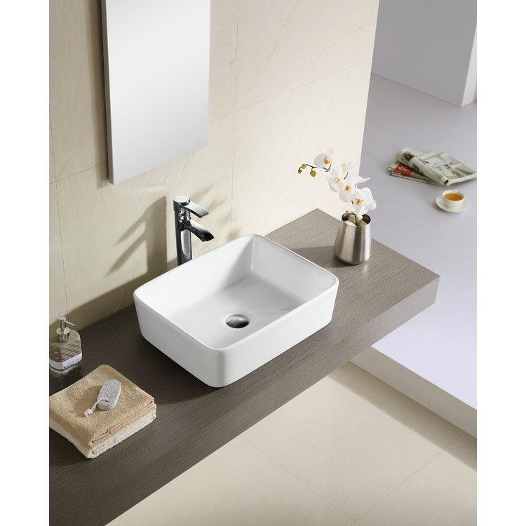 Ceramic Rectangular Vessel Bathroom Sink Bathroom Remodel Ideas in