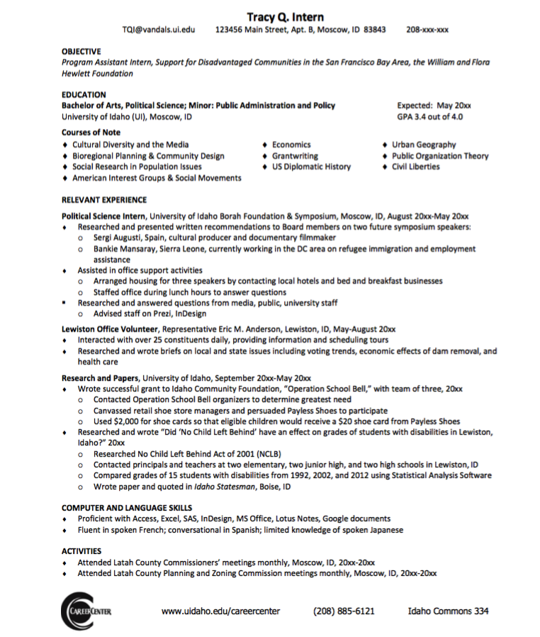Sample Political Science Resume  HttpExampleresumecvOrg