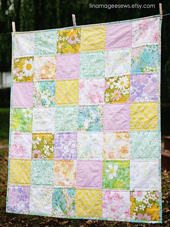 vintage sheets quilt! Beautiful!