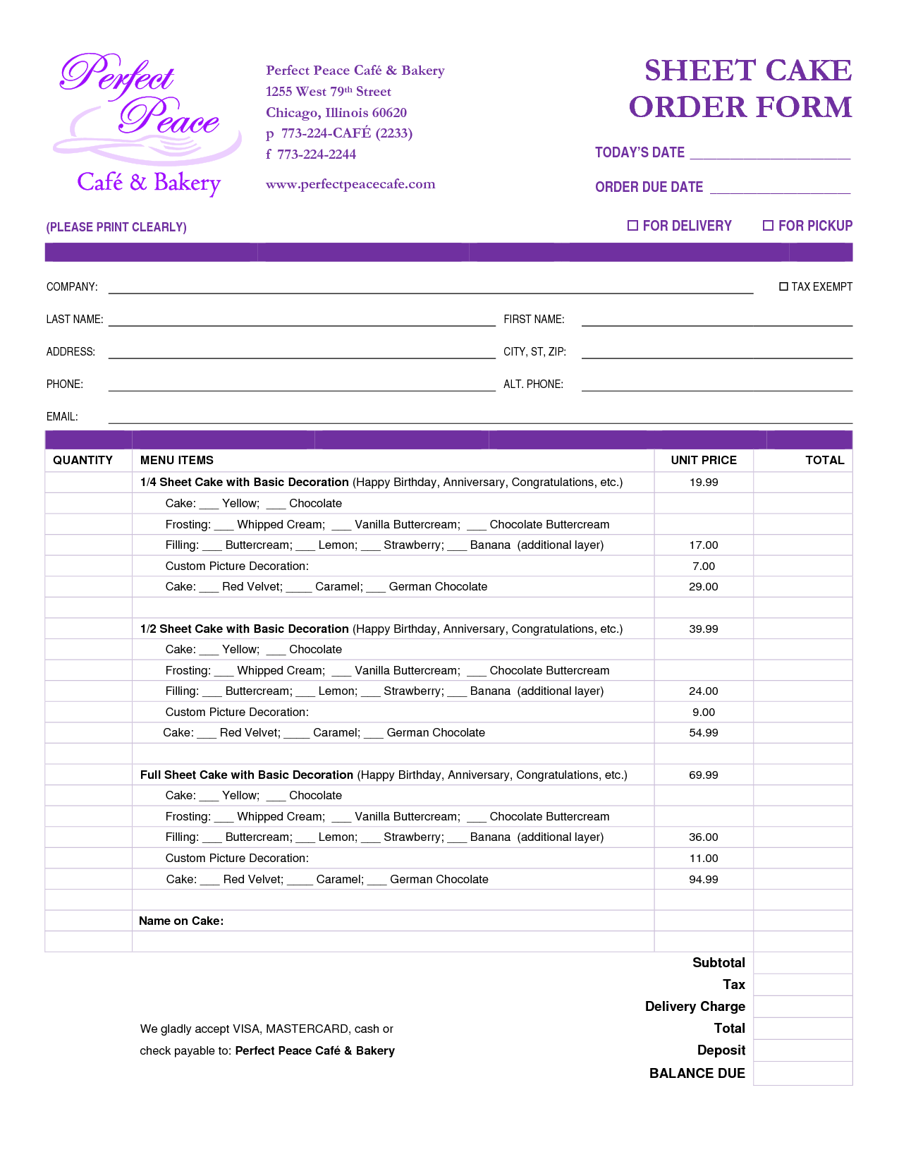 Cake Order Form Template Free Download Google Search Cake