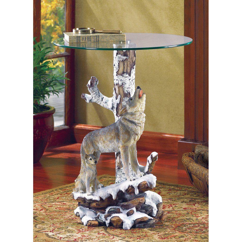 Wolf Accent Table Beistelltisch Statue Wolf