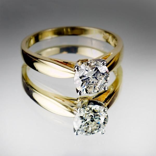 Yellow Gold 100 Carat Canadian Diamond Solitaire Ring Canadian