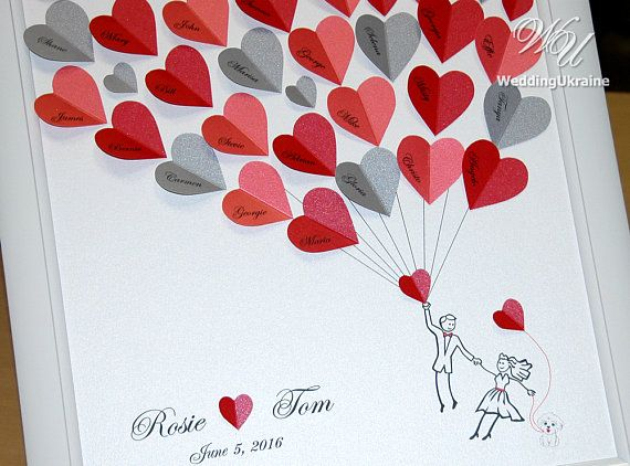 Personalized Wedding Guest Book Alternative with flying