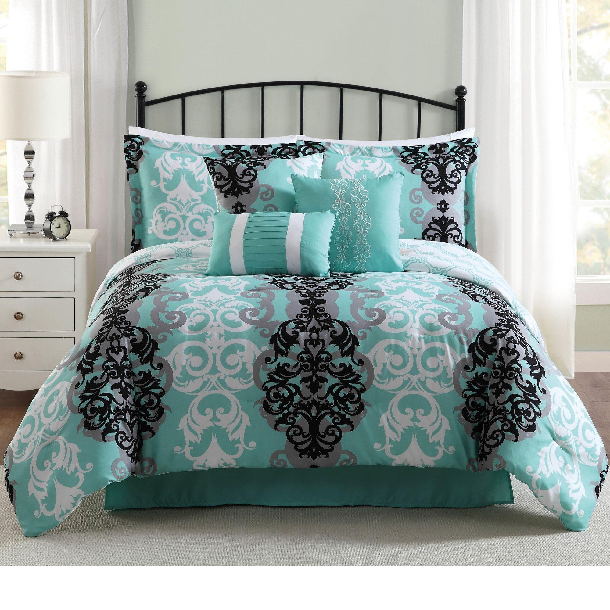 Downton 7 Piece Comforter Set Queen Bedding Sets Teal Bedding Sets Comforter Sets
