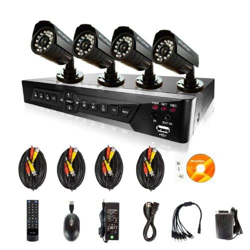#Laview LV-KDV0804B5B H.264 8 Channel DVR with 4 Night Vision IR 520TVL Bullet Cameras Security Camera System Remote Access via Internet & SmartPhone $149.98