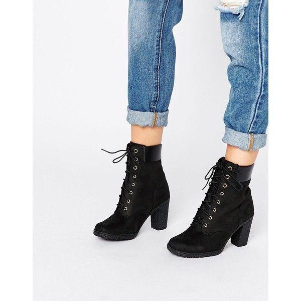 Timberland Glancy Black Heeled Boot | Black heel boots