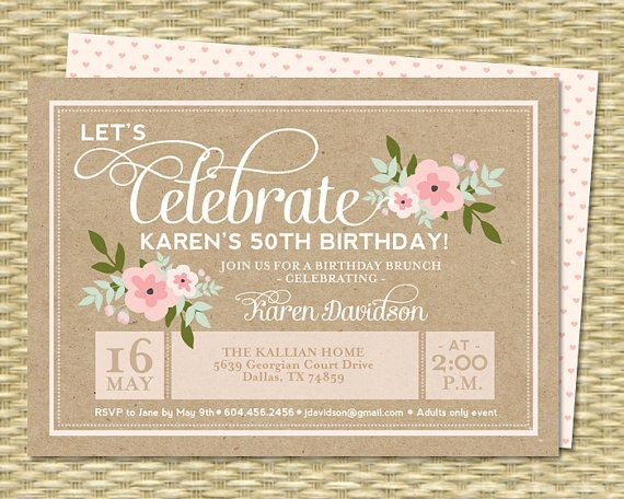 Rustic Birthday Invitation Milestone By SunshinePrintables