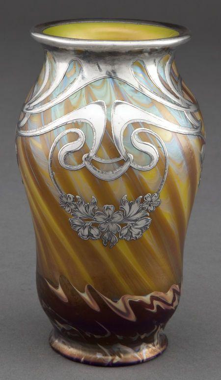 PEACH-Vintage Art nouveau vase Cased Silver Victorian floral overlay Flower Vase