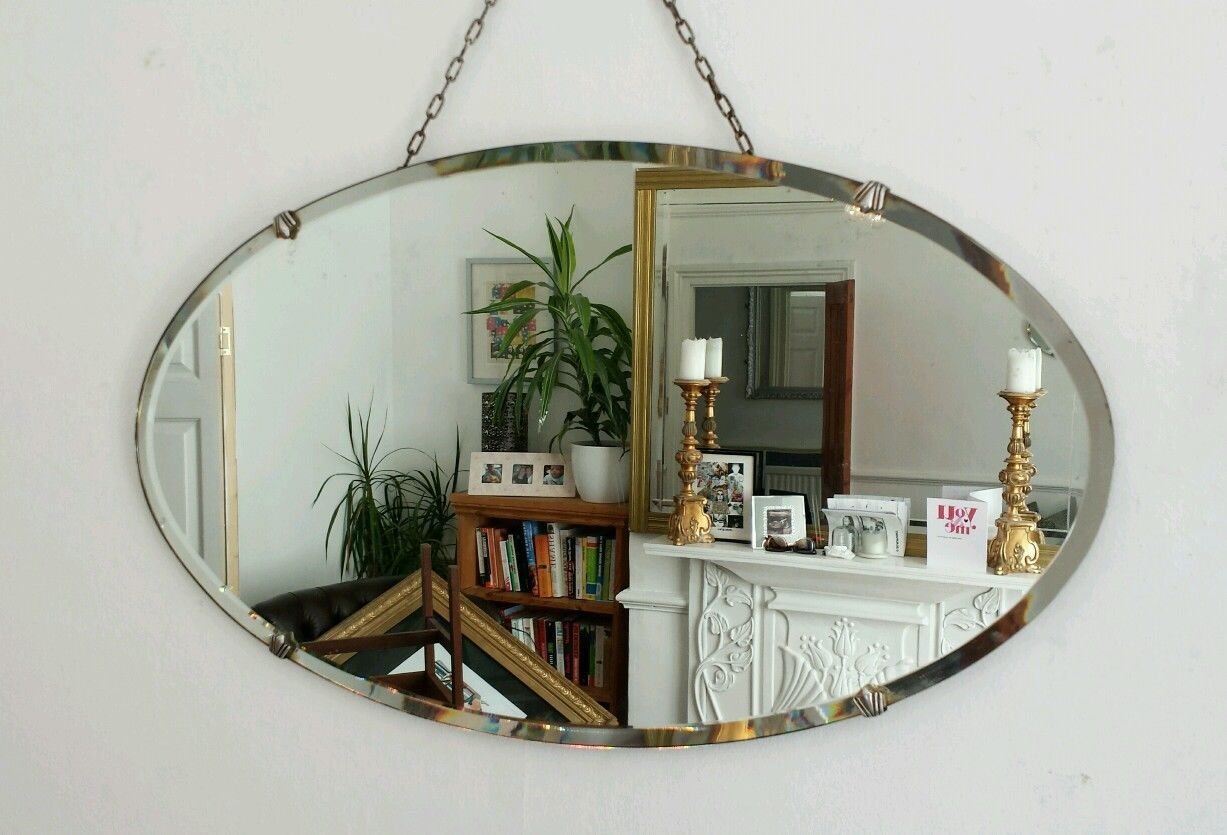 Vintage Beveled Oval Mirror Art Deco 1930 S Retro Frameless Antique Ebay Art Deco Mirror Art Deco Deco