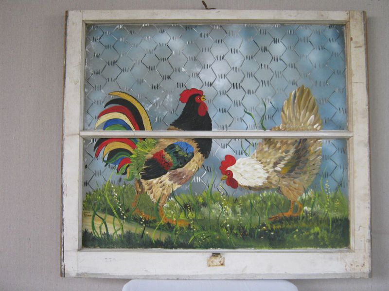Hand Painted Window Rooster Hen Window Crafts Window Painting Old Window Art
