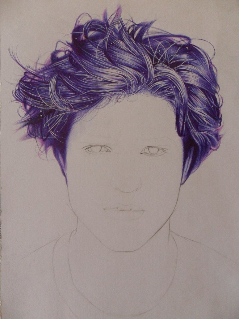 drawing hair with ballpoint pen