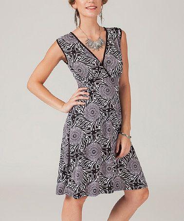 This Black & White Sunflower Surplice Dress is perfect! #zulilyfinds