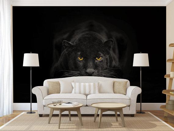 Black Panther Wall Mural Self Adhesive Photo Mural Peel Etsy