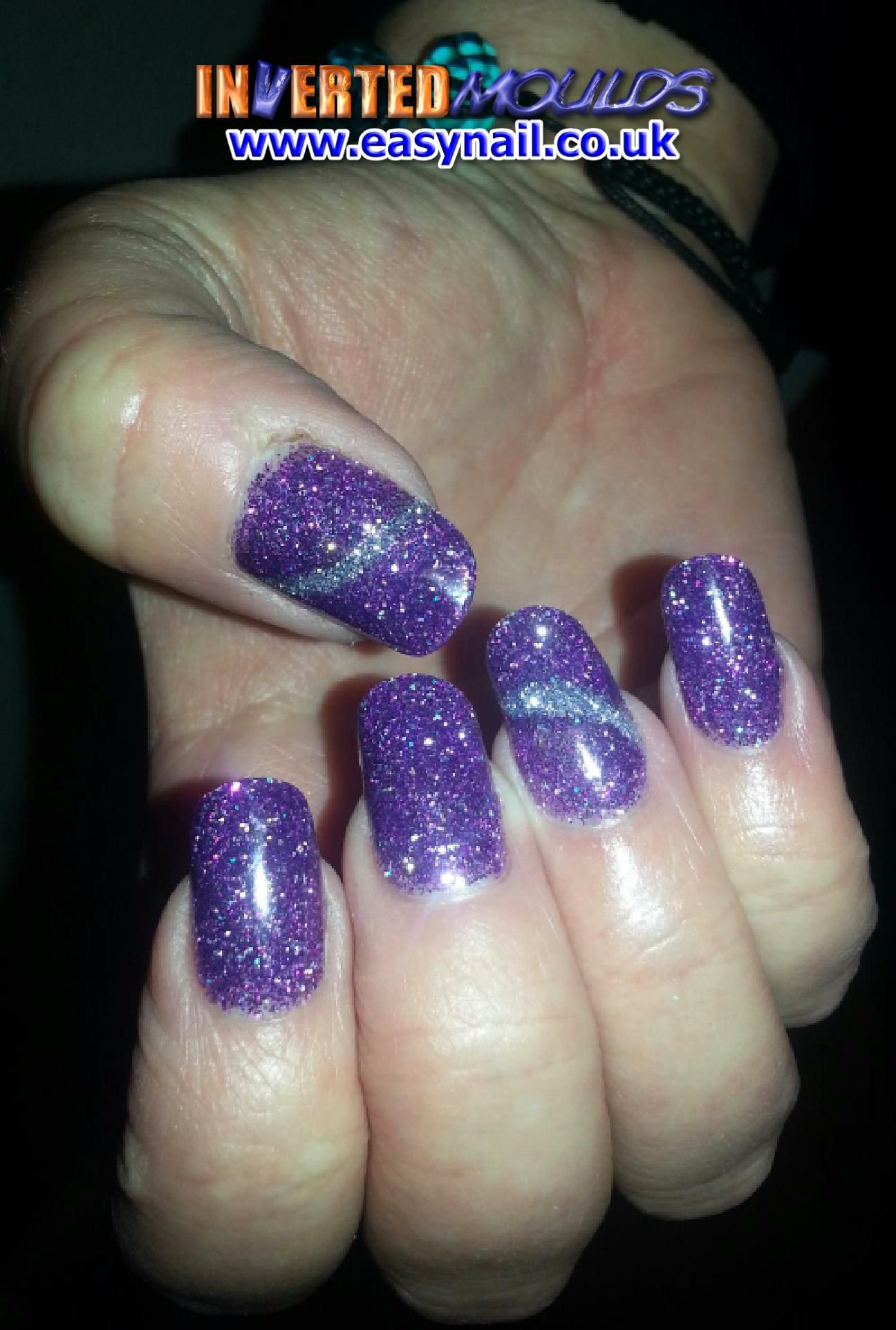 Purple and Silver Glitter Inverted Moulds by Kerry Oconnor