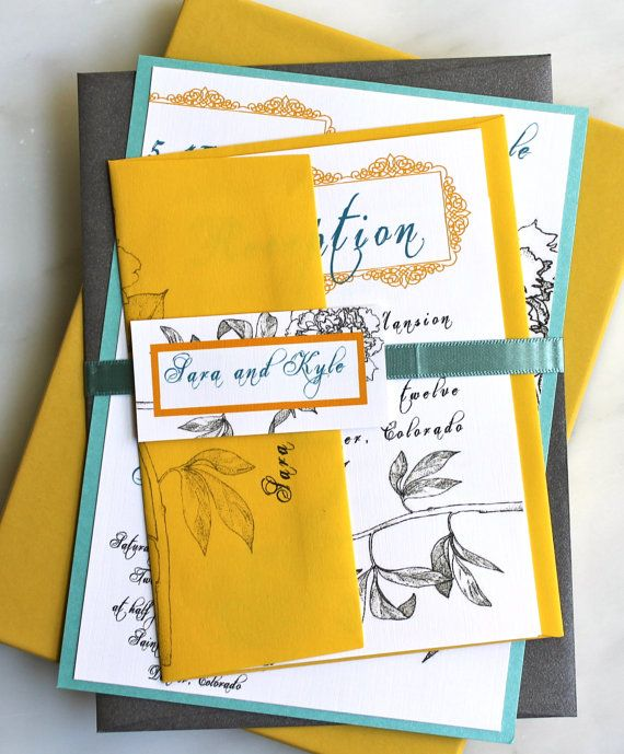 Yellow Gray Peony Wedding Invitations With Teal Yellow And A