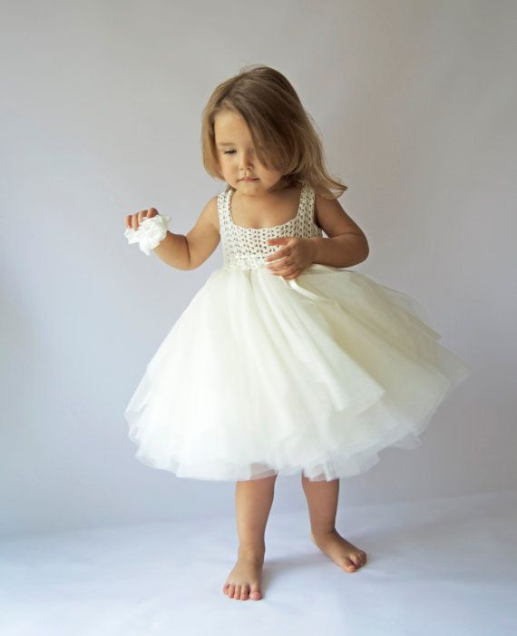 Ivory  Empire Waist Baby Tulle Dress with Stretch Crochet