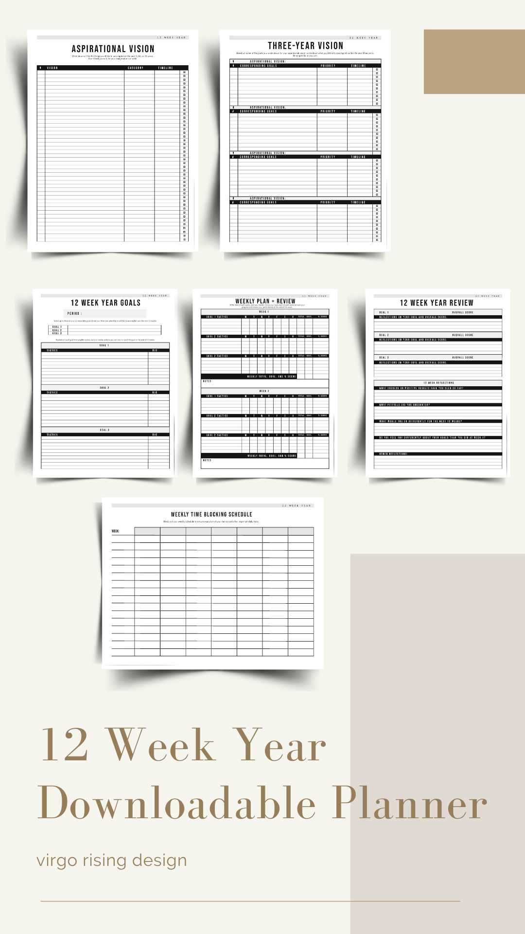 12 Week Goals Bundle Goal Planning Templates Goal Setting Etsy Goal Planning Goal Planning Template Yearly Planner