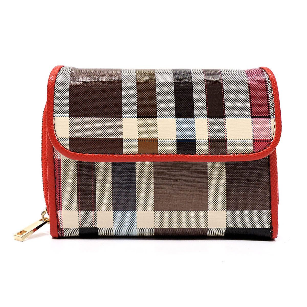 Check Pattern Trifold Wallet [TP407-RED]