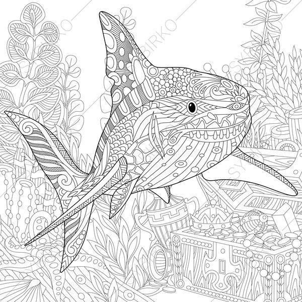 Coloring Pages For Adults Digital Coloring Pages Shark Etsy Shark Coloring Pages Animal Coloring Pages Coloring Books