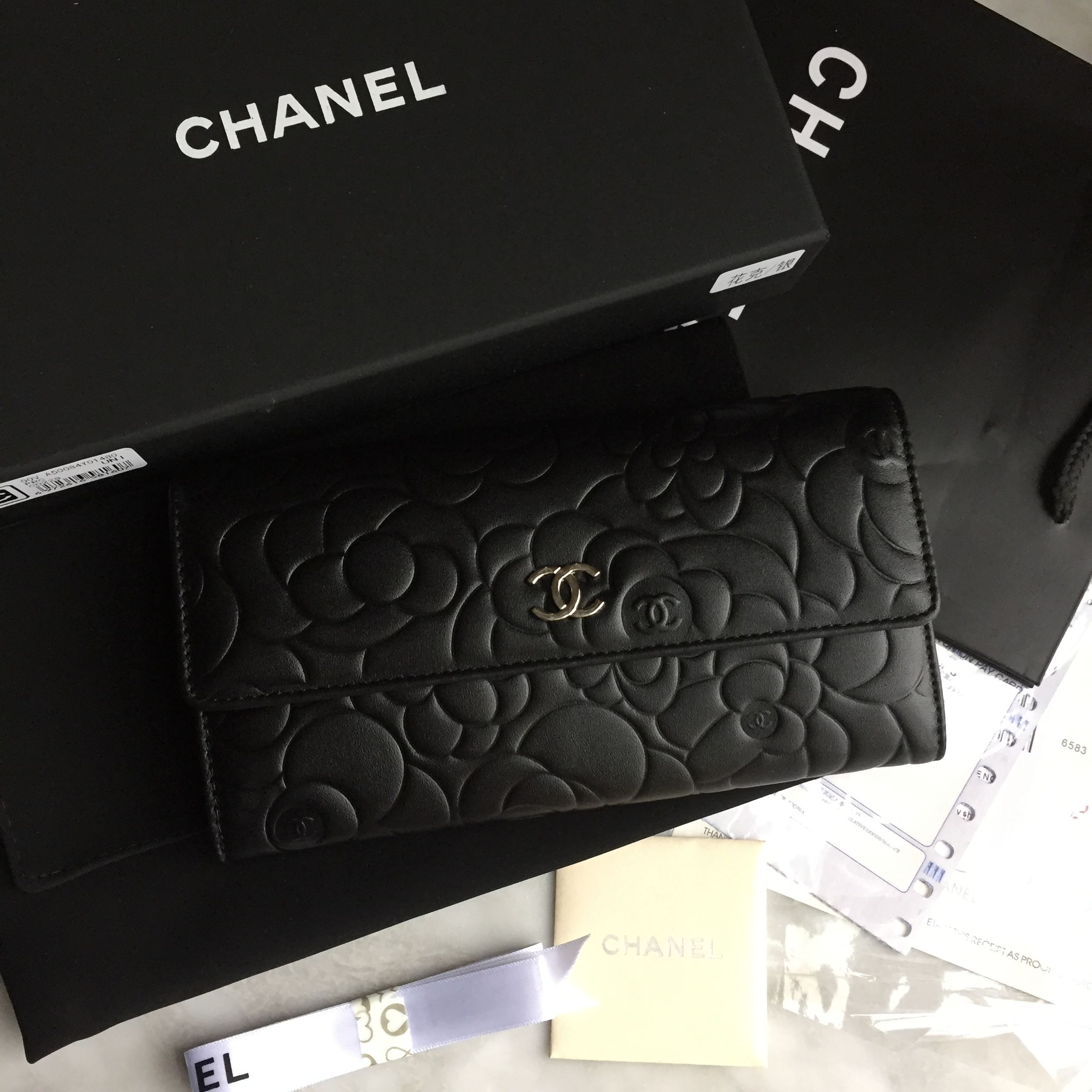 Chanel Woman Camellia Flower Wallet Black Original Leather