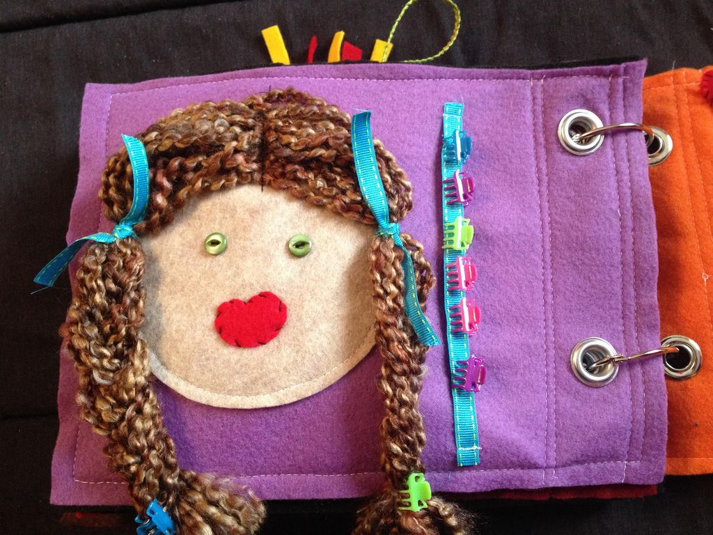 Quiet book page  braid the hairhair clips  quiet books