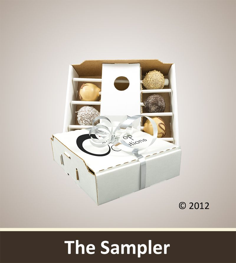 "The ""Sampler"" Mini Box: A sampler of some of our most popular cake pops!     Featuring: S'mores, coconut fudge, Peanut butter cup, and cookies and cream cake pops. Starting at only $33.00"
