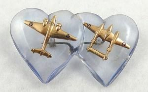 WWII Lucite Double Hearts Sweetheart Brooch - Garden Party Collection Vintage Jewelry