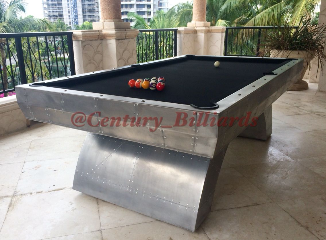 This Custom Aviator Style Pool Table Is Our Version Of The Boeing Airplane.  Shown Here On A Terrace In Bal Harbour,Miami... With Laser Cut Lines, ...