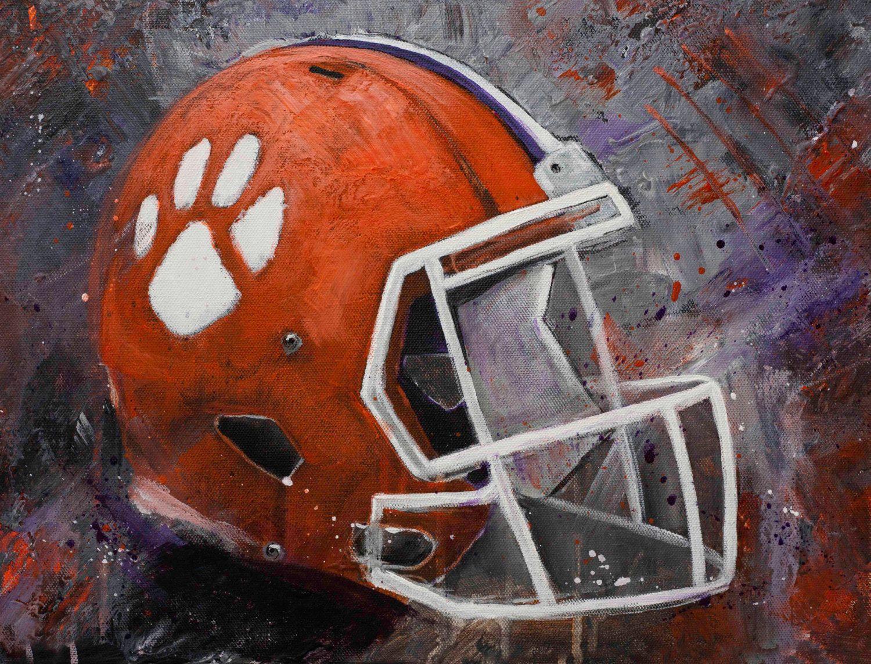 Clemson Tigers Art Clemson Football Helmet Wall Art Etsy Tiger Art Etsy Wall Art Football Paintings