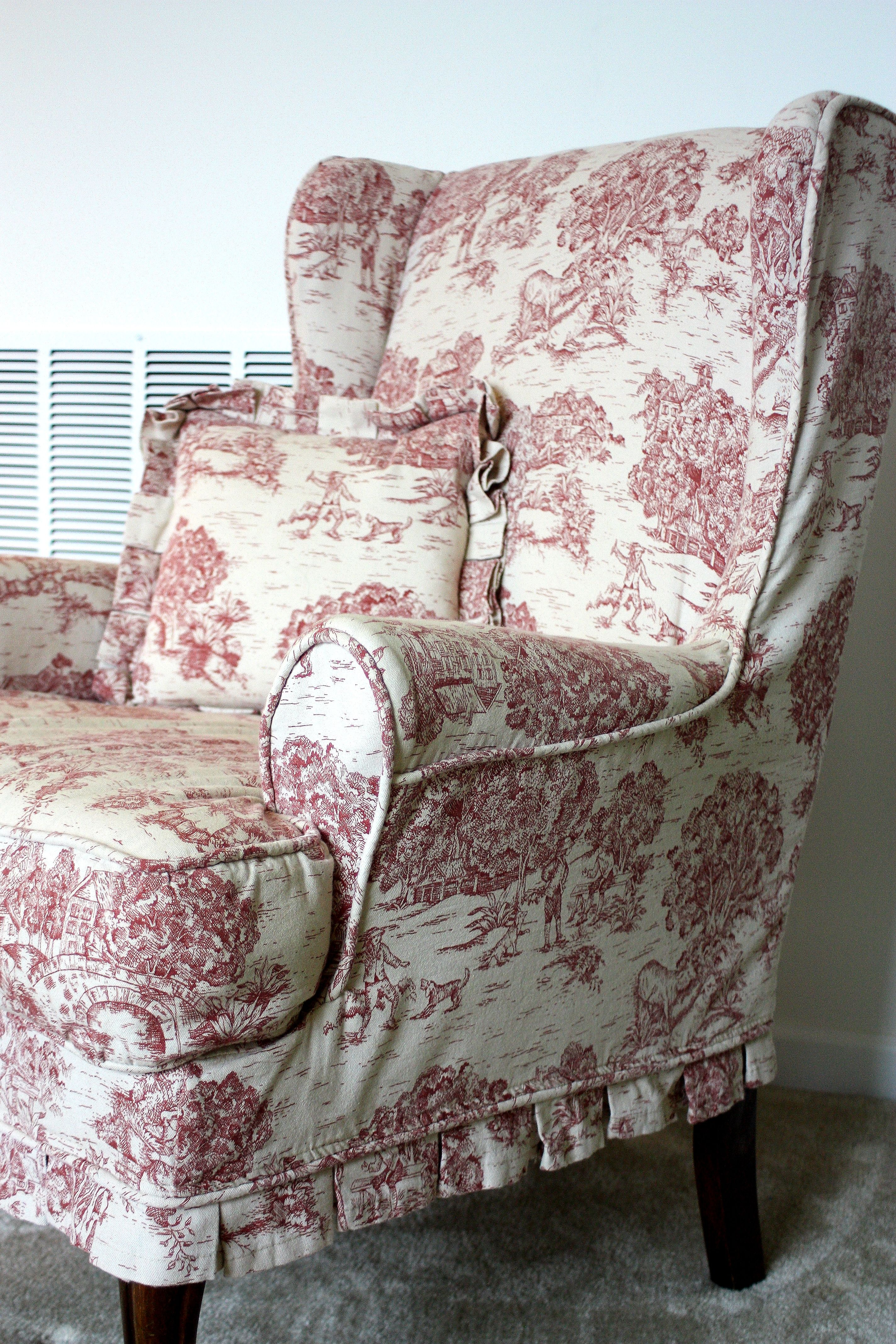 Red Toile Wing Chair Twill Slipcover Studio New House