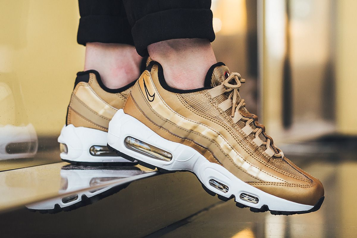 cheap for discount 51642 16d19 On-Foot Nike WMNS Air Max 95 QS in Metallic Gold Air Max 97 Inspired  Colorway - EU Kicks Sneaker Magazine
