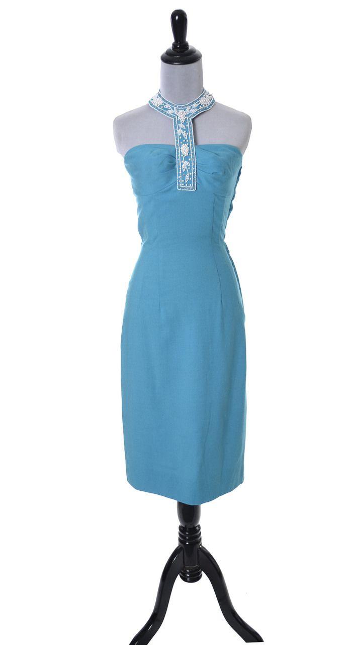 Blue robert morton for tiara vintage us beaded halter collar