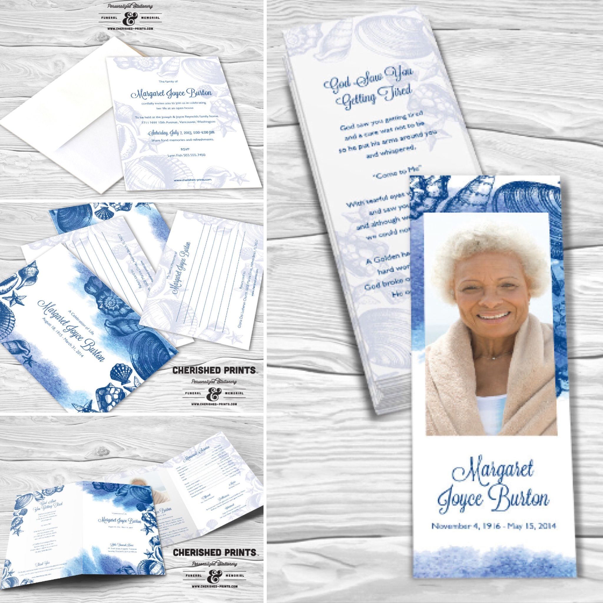 Seashells Invite Your Celebration Of Life Funeral And Memorial Attendees To Share Their Memo Memorial Service Program Memorial Announcement Guest Book Sign
