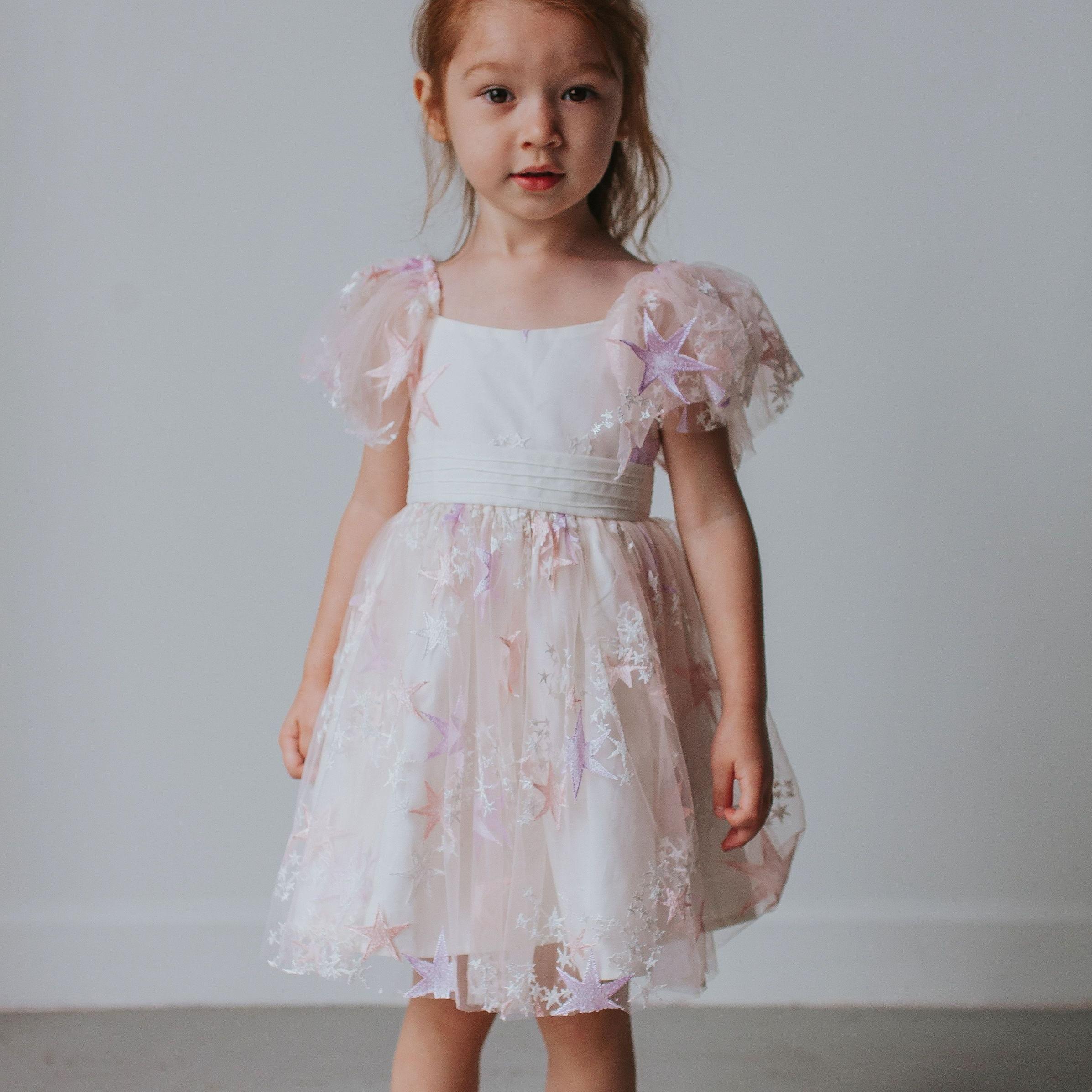 Little Girl's Pink Tulle Star Dress Dresses, Cute flower