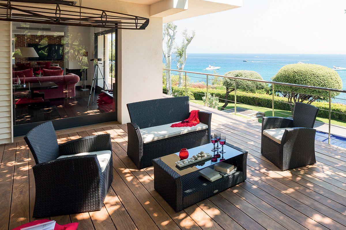 Salon de jardin Bora Bora noir - HESPERIDE.fr   Jardin   Pinterest ...