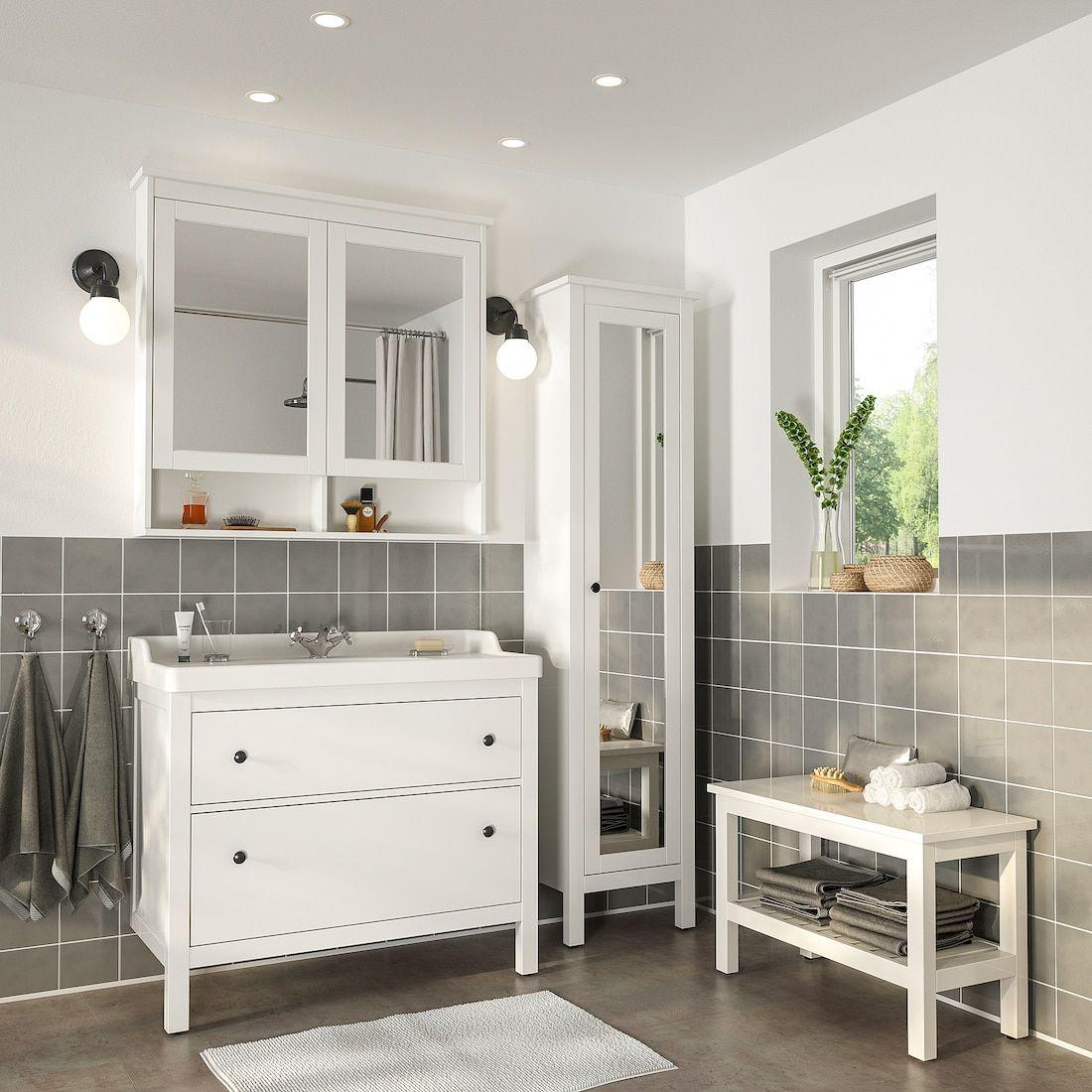 HEMNES / RÄTTVIKEN Bathroom furniture, set of 10, white, Runskär