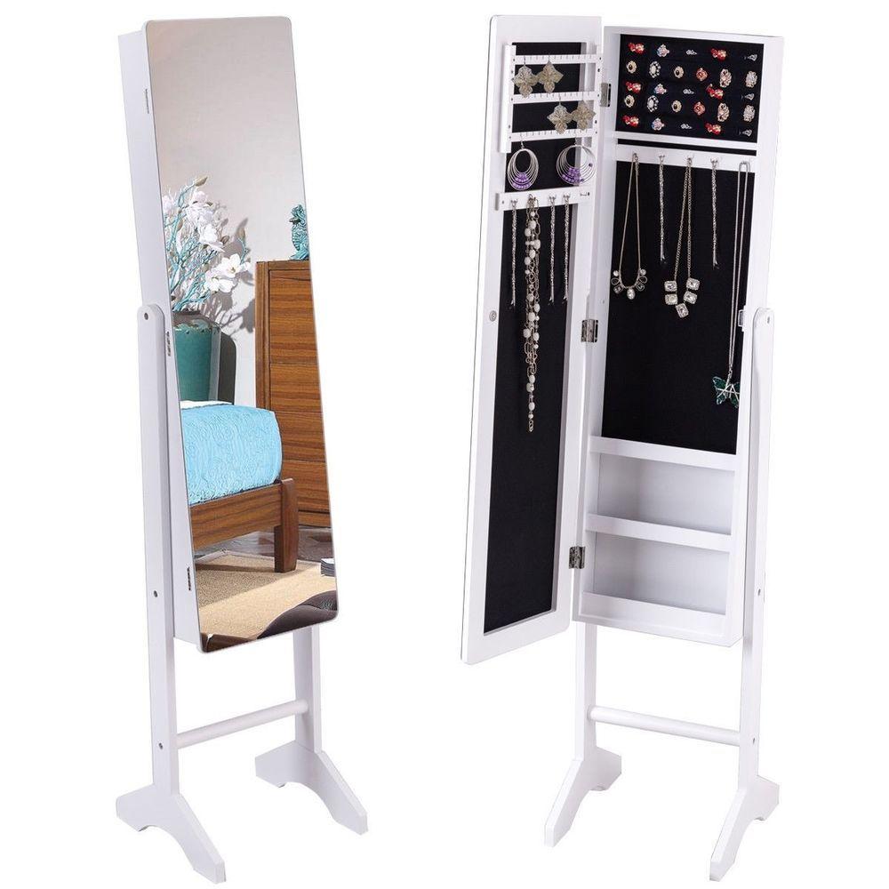 Freestanding Mirror Jewelry Cabinet Armoire Storage Mirrored Organizer Box Stand Jewelstore Jewelry Cabinet Standing Jewelry Armoire Mirror Jewelry Armoire