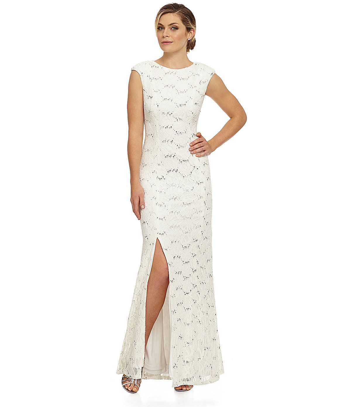 Hailey by Adrianna Papell Cap-Sleeve Lace Gown | Dillards.com